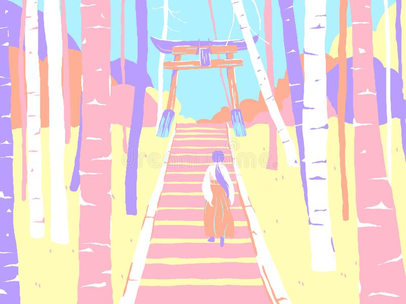 Japan countryside landscape, a shrine maiden or miko walking up the stairs to enter shrine gate in forest vector illustration