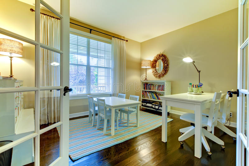 Kids study room or home school class interior. stock images