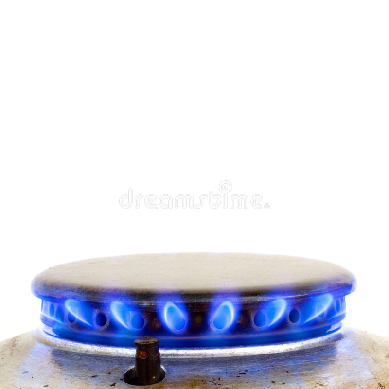 Kitchen oven burning gas. Isolated on white royalty free stock image