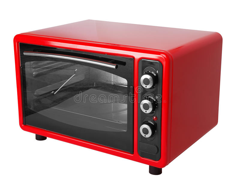 Kitchen red oven. Isolated on a white background royalty free stock photography