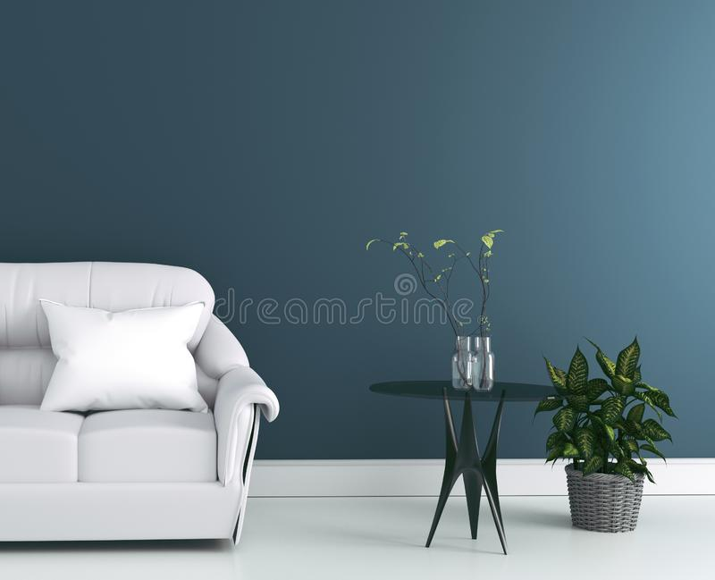 Living Room interior with gray fabric sofa and pillows on modern dark wall background,3d rendering. Mock up Living Room interior with gray fabric sofa and stock illustration