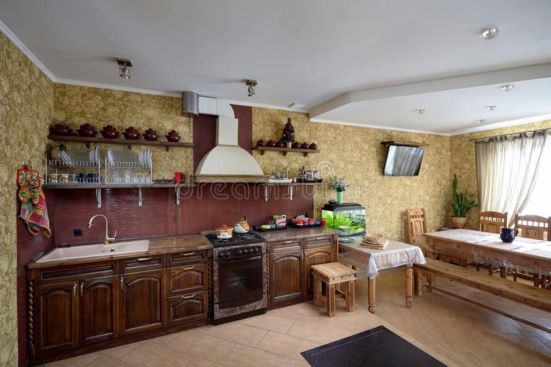 Living room and Kitchen in Village Style royalty free stock photos