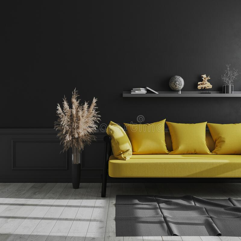 Living room modern interior with black wall, yellow sofa and pampas grass, luxury dark interior background, dark living room mock. Up,  scandinavian style, 3d vector illustration