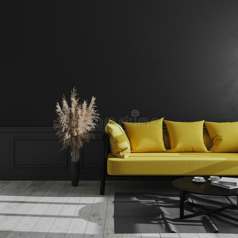 Living room modern interior with black wall, yellow sofa and pampas grass, luxury dark interior background, dark living room mock. Up,  scandinavian style, 3d stock illustration