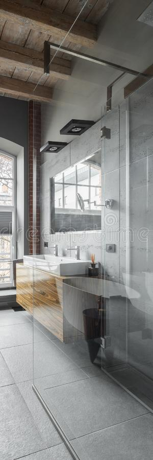 Loft bathroom with wooden ceiling. And stylish shower, vertical panorama stock photo