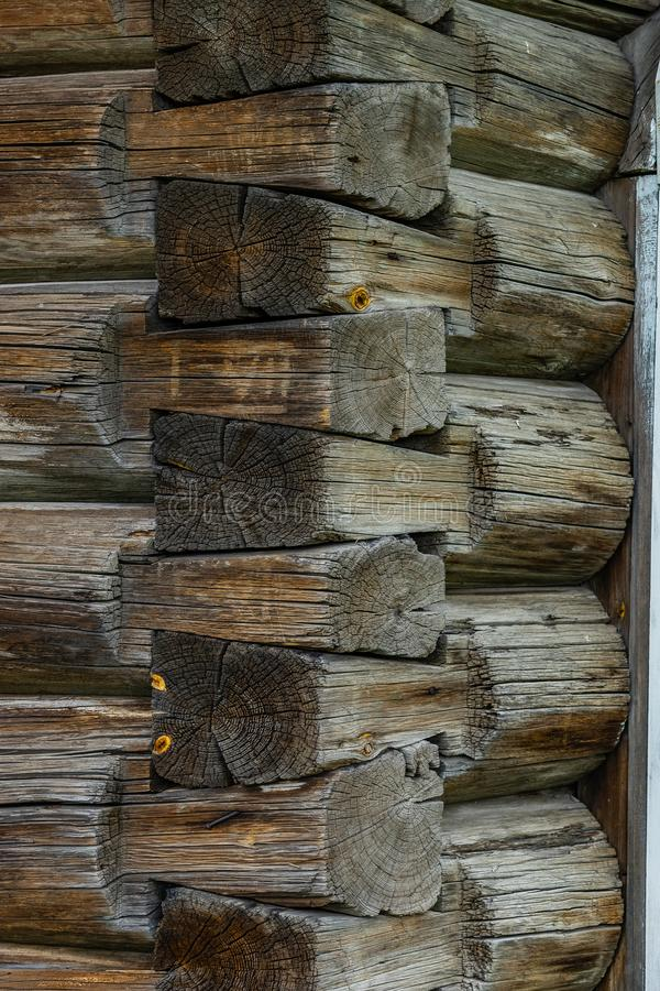 Log wall hut corner junction old russian style royalty free stock photos