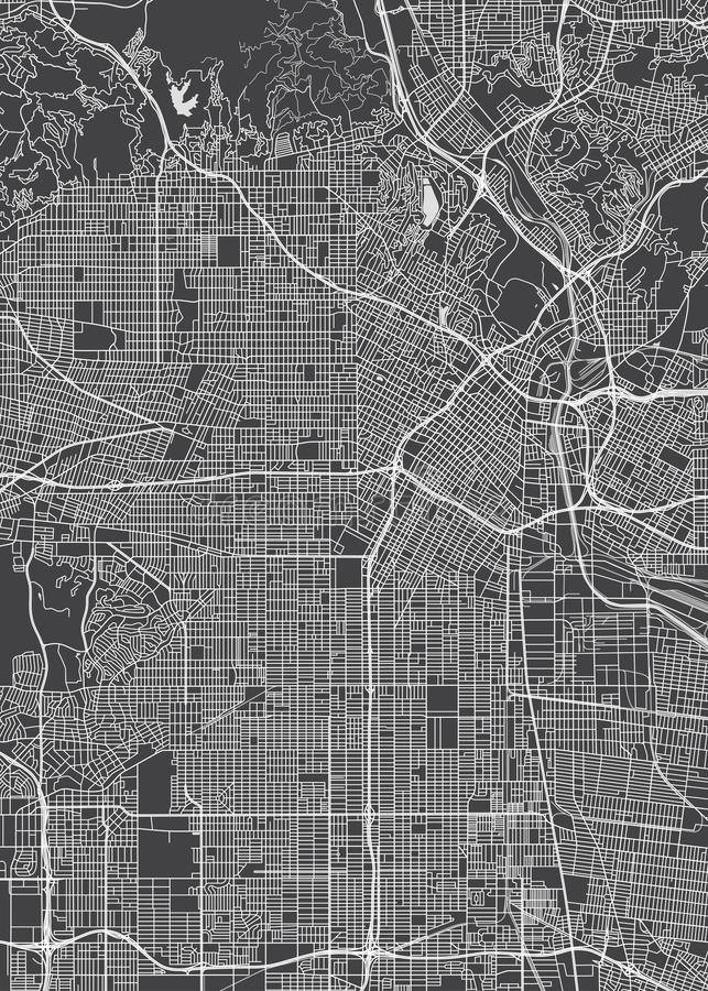 Los Angeles city plan, detailed vector map vector illustration