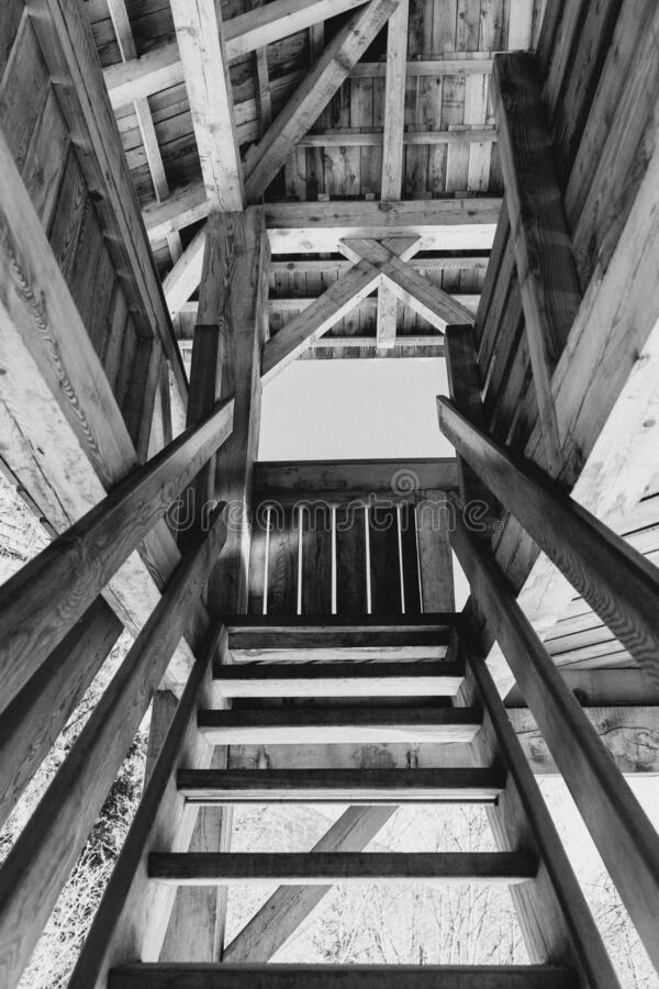 Low angle shot of stairs as they lead to the remainder of the wooden house. A low angle shot of stairs as they lead to the remainder of the wooden house royalty free stock photos