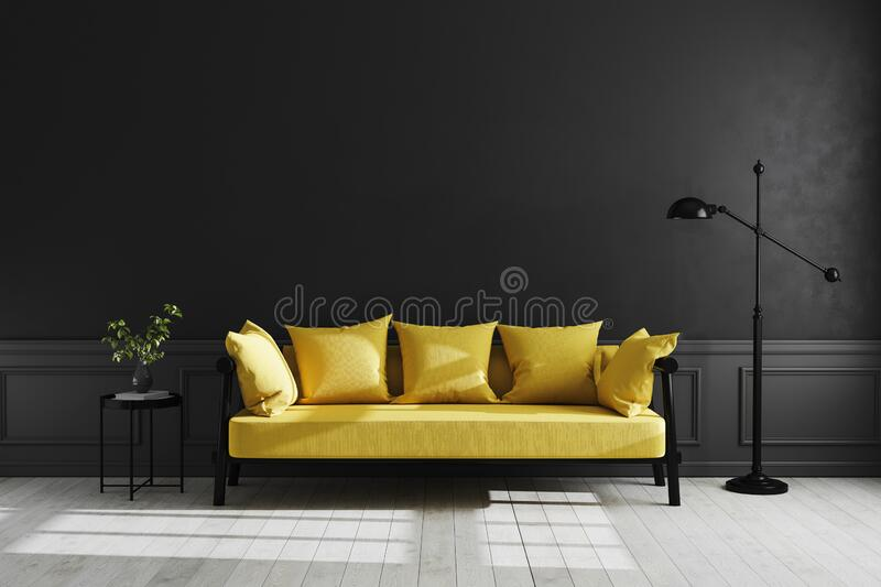 Luxury dark living room interior background, black empty wall mock up, modern living room with yellow sofa and black lamp and. Table, bright colors interior stock illustration