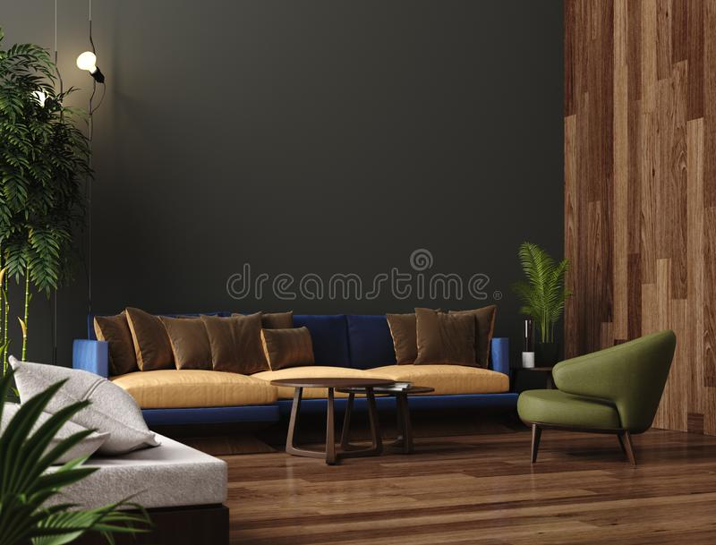 Luxury modern living room interior, dark green brown wall, modern sofa with armchair and plants. 3d render vector illustration