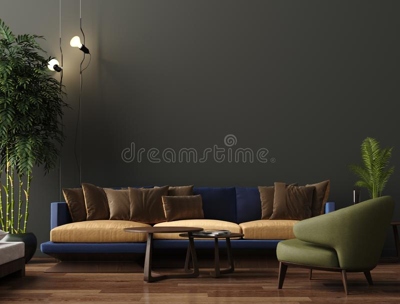 Luxury modern living room interior, dark green brown wall, modern sofa with armchair and plants. 3d render stock illustration