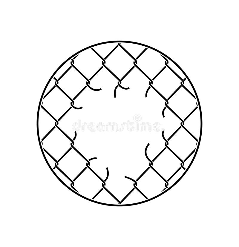 Mesh netting Torn. Rabitz with hole. Mesh fence Ripped backgrou. Nd royalty free illustration