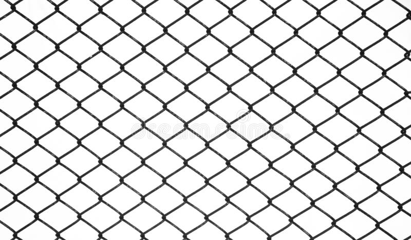 Metal links wire mesh rabitz isolated on white background. Background of black metal netting mesh. Metal links wire mesh rabitz isolated on white background. Old stock photo
