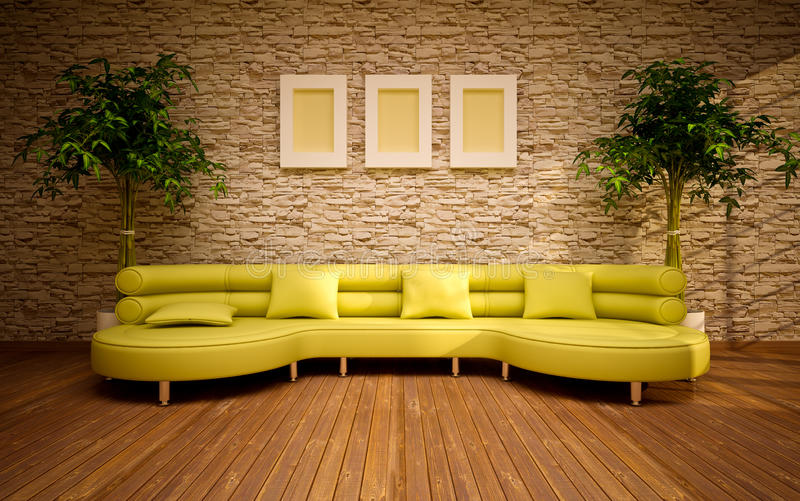 Minimal modern interior with lemon sofa stock illustration