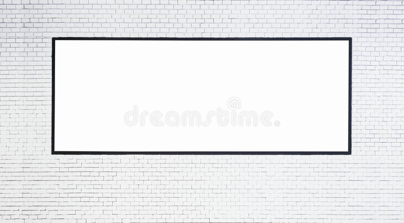 Mock up Blank Banner with Black frame on White brick wall. Mock up Blank horizontal Banner with Black frame on White brick wall background stock images