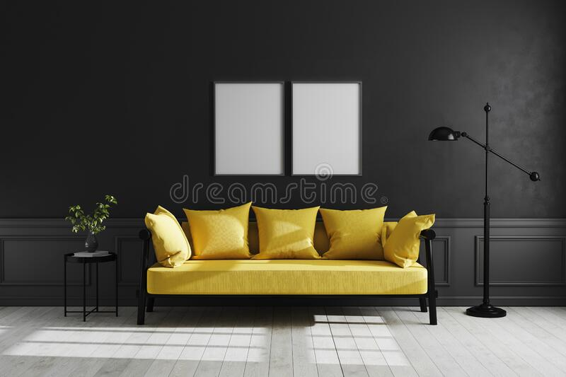 Mock up poster frame in Luxury dark living room interior background, black empty wall mock up, modern living room with yellow sofa. And black lamp and table stock illustration