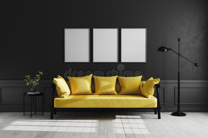 Mock up poster frame in Luxury dark living room interior background, black empty wall mock up, modern living room with yellow sofa. And black lamp and table vector illustration