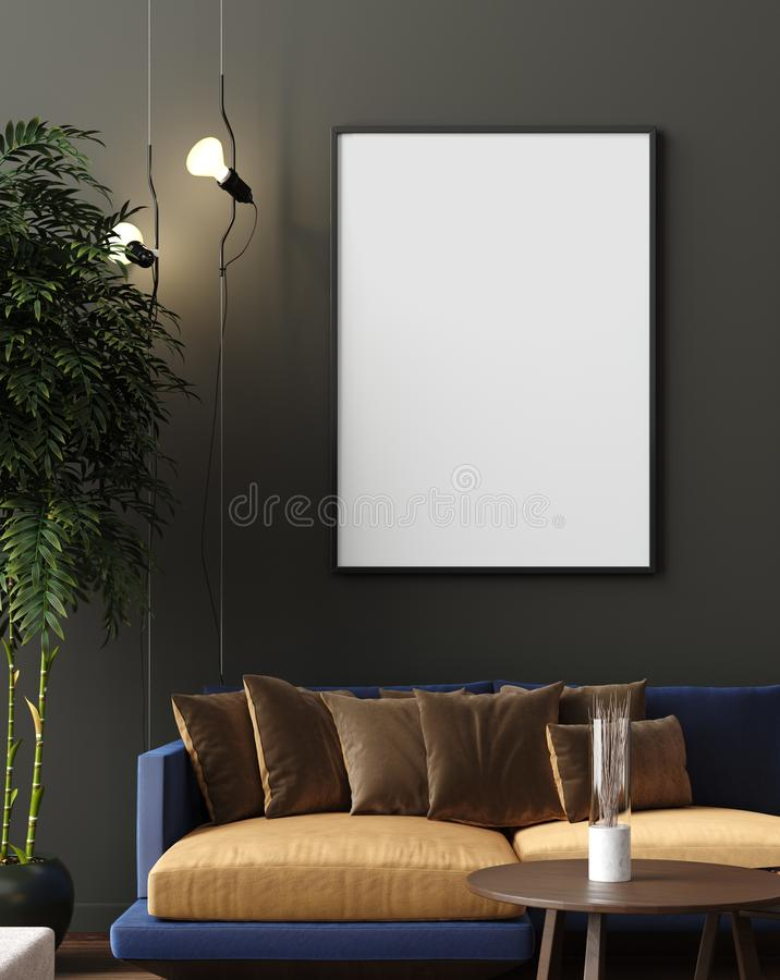 Mock up poster in luxury modern living room interior, dark green brown wall, modern sofa and plants. 3d render stock illustration