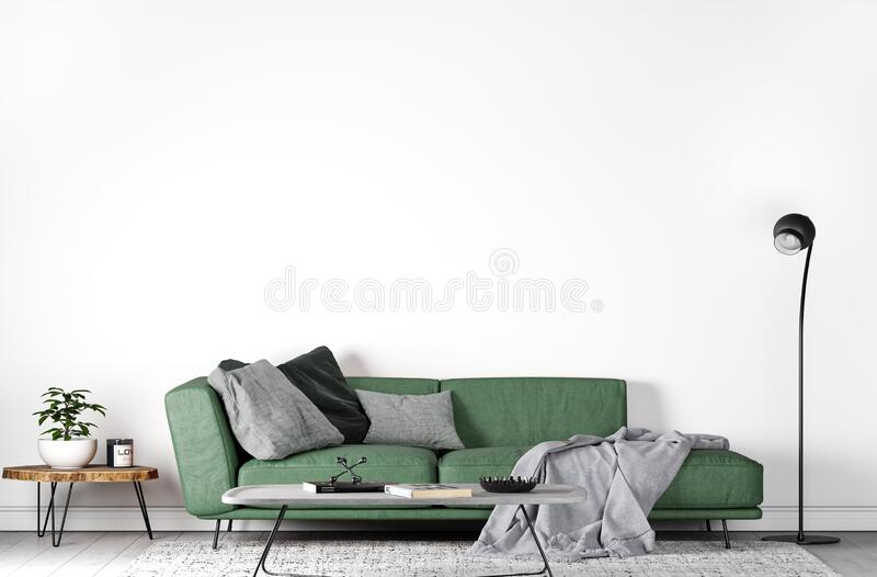 Mock up wall in modern interior , green sofa in living room on empty white wall, stock illustration