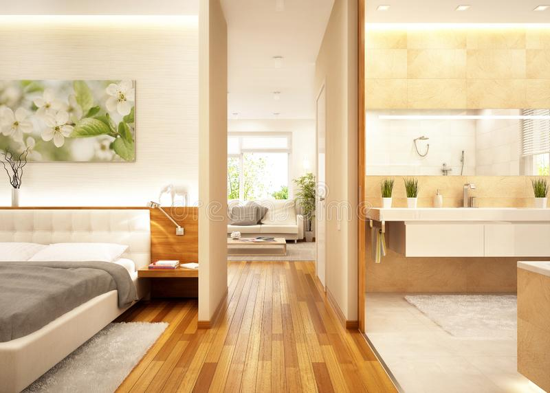 Modern apartment with living room, bathroom and bedroom royalty free stock image