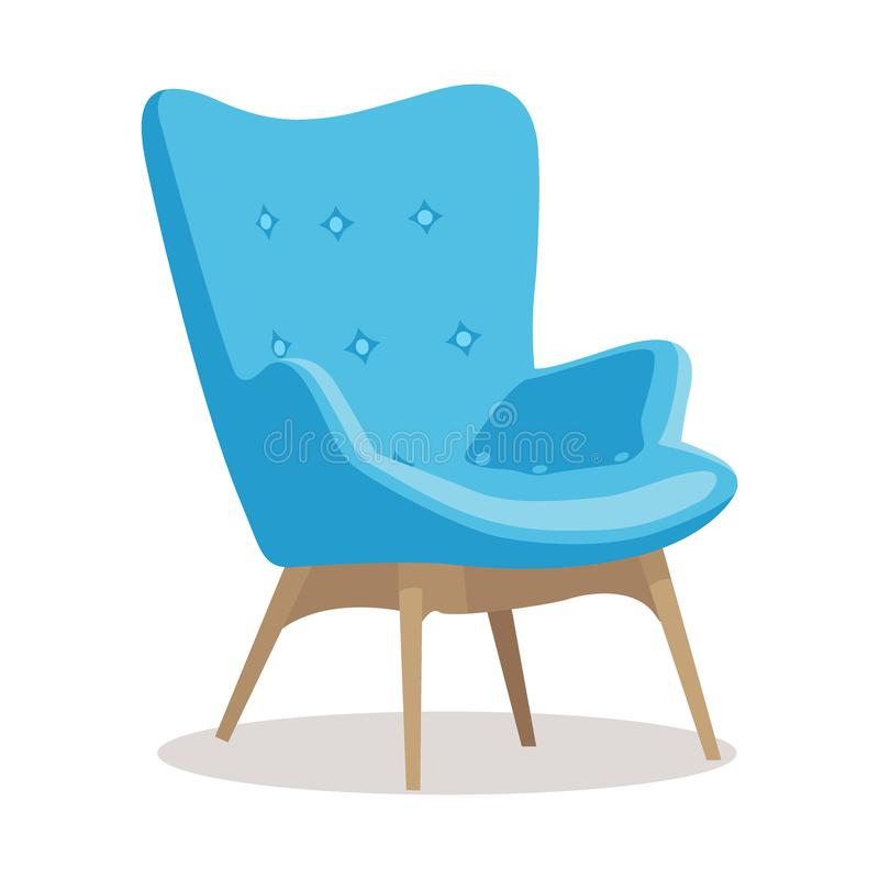Modern blue soft armchair with upholstery - interior design element isolated on white background. stock illustration