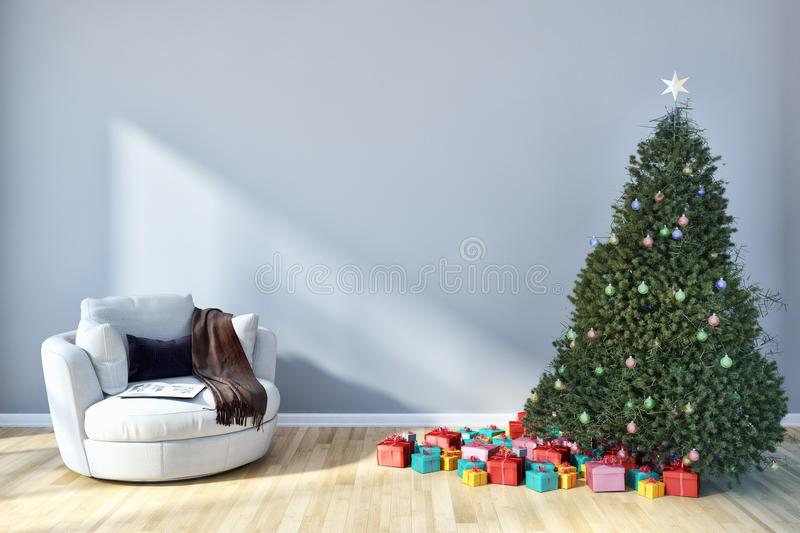 modern bright interiors apartment living room with Christmas tree, 3D rendering illustration vector illustration