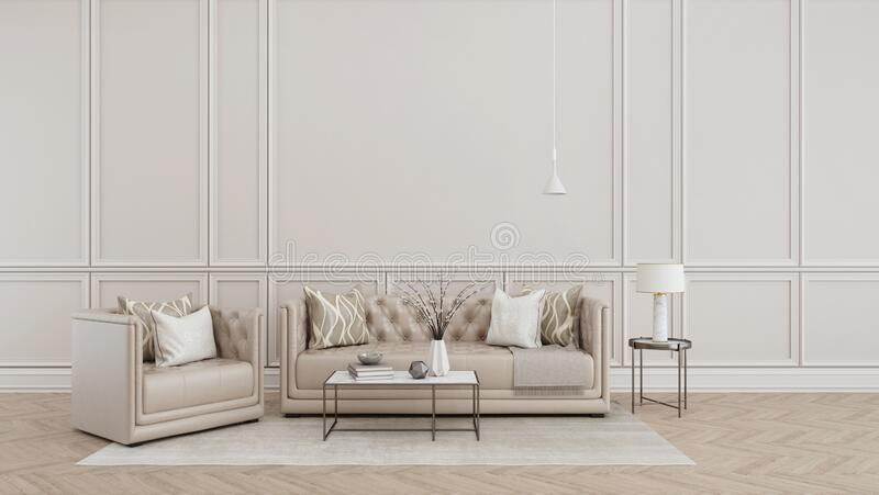 Modern classic interior.Sofa,armchair,side table with lamps.White vase on table.White wall and wooden floor with carpet. stock illustration
