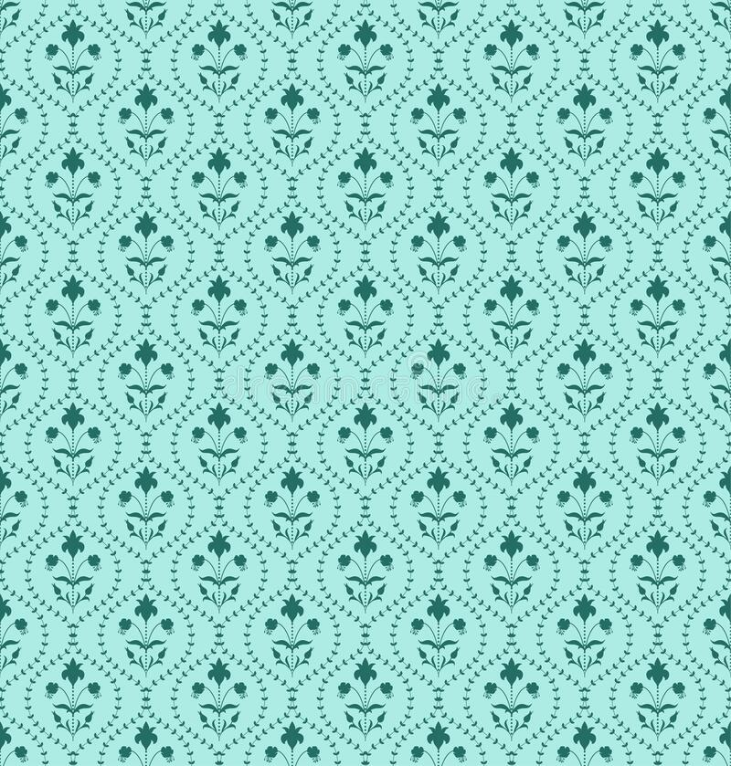 Emerald green color Damask Pattern. Modern Damask Seamless pattern with flowers, leaves, plants and buds in emerald green color on light turquoise background royalty free illustration