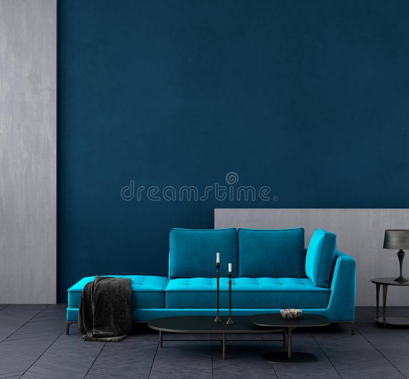 Modern dark blue living room interior with azure color couch,wall mock up. 3d render vector illustration