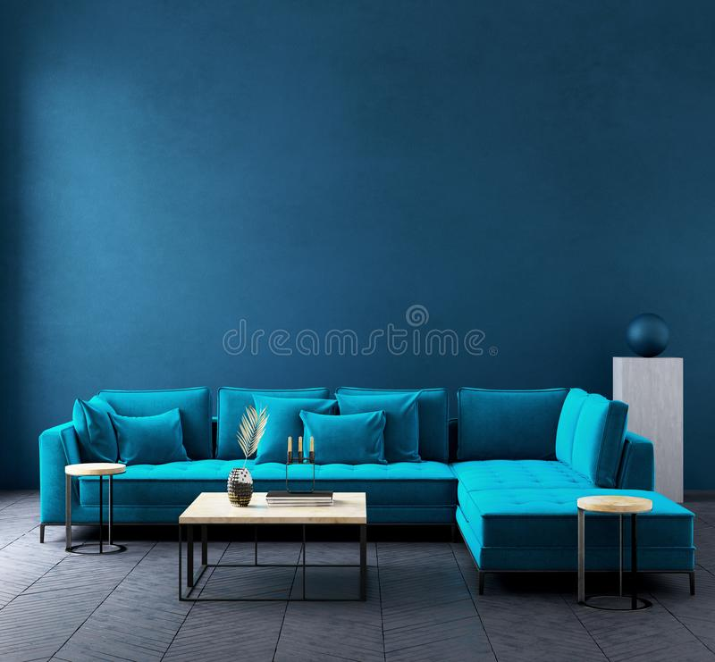 Modern dark blue living room interior with azure color couch,wall mock up. 3d render royalty free illustration