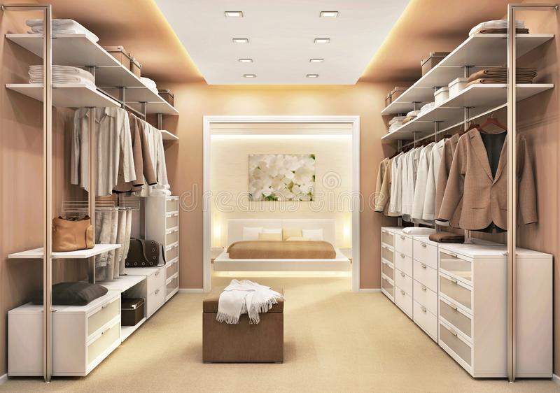 Modern dressing room in a luxury bedroom royalty free stock photos