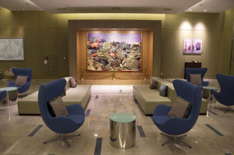 Modern furniture in luxury hotel lobby stock image