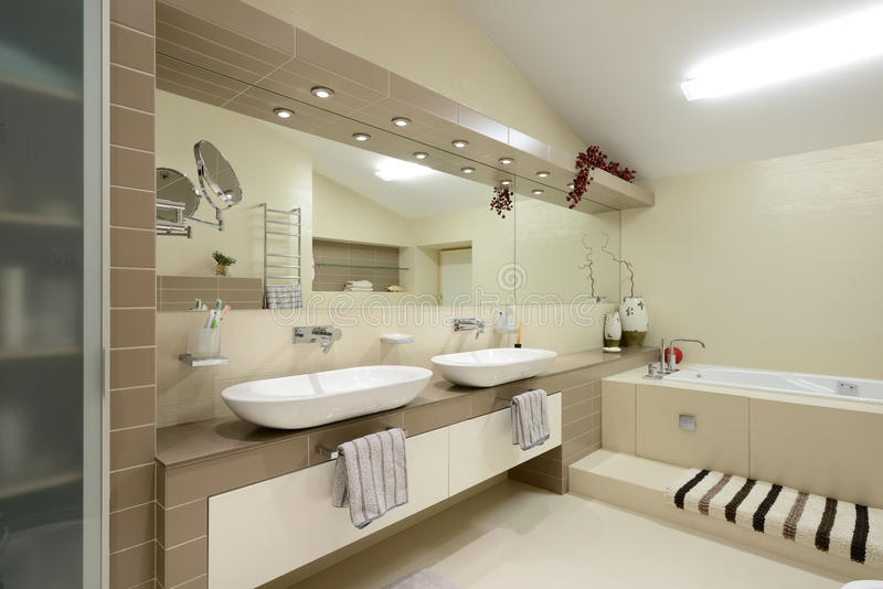 Modern interior.Bathroom. Interior of modern bathroom. Exclusive design stock images