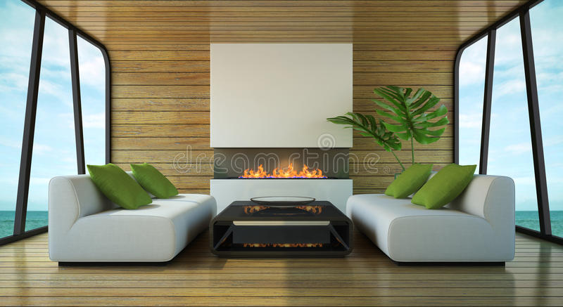 Modern interior of the beach house stock illustration