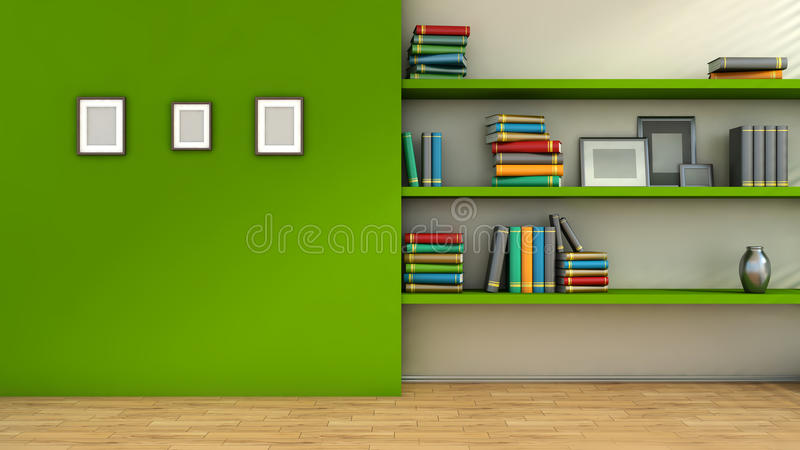 Modern interior composition with blank pictures on wal, vase royalty free illustration