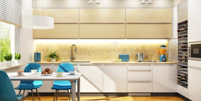 Modern interior design beautiful kitchen stock illustration