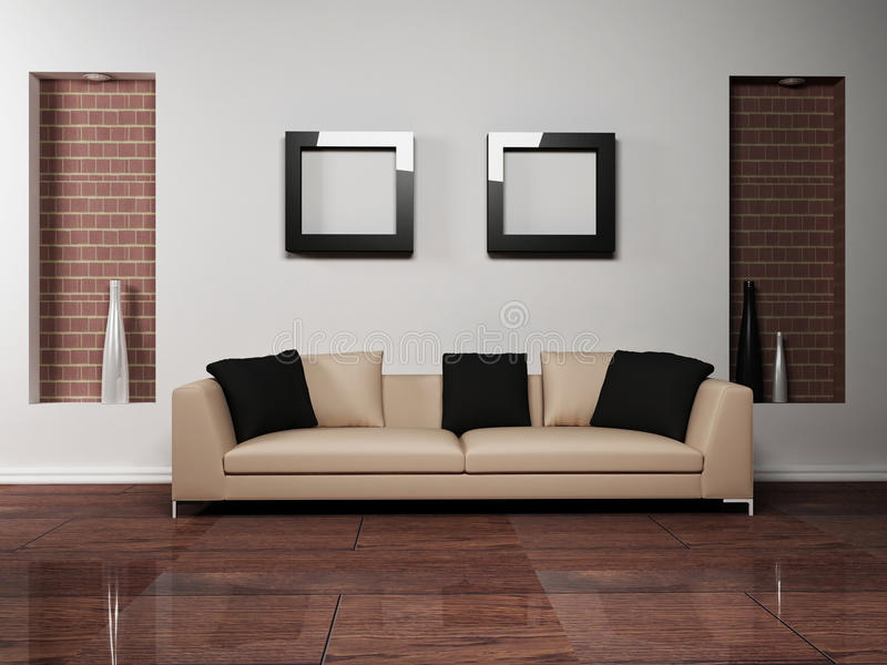 Modern interior design of living-room with royalty free illustration