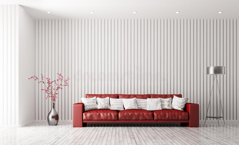 Modern interior of living room with red sofa 3d rendering royalty free illustration