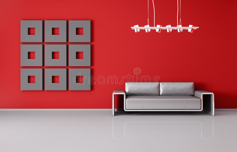 Modern interior with sofa 3d render stock illustration