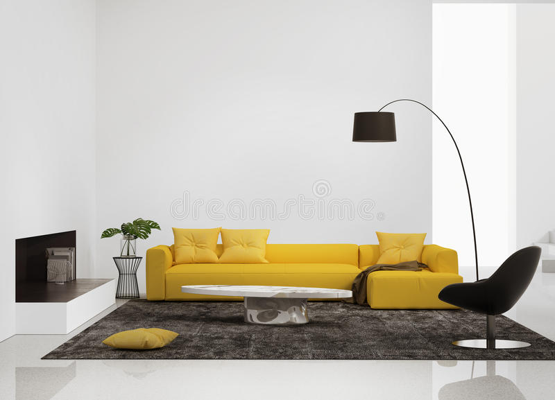 Modern interior with a yellow sofa in the living room stock illustration