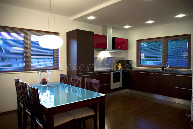 Modern kitchen and dining room royalty free stock photo