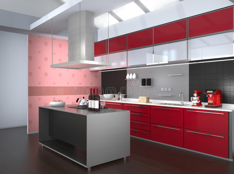 Modern kitchen interior with smart appliances in red color coordination royalty free illustration