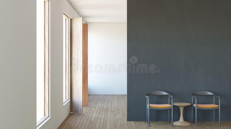 Modern loft interior composition living room / 3d render image royalty free illustration
