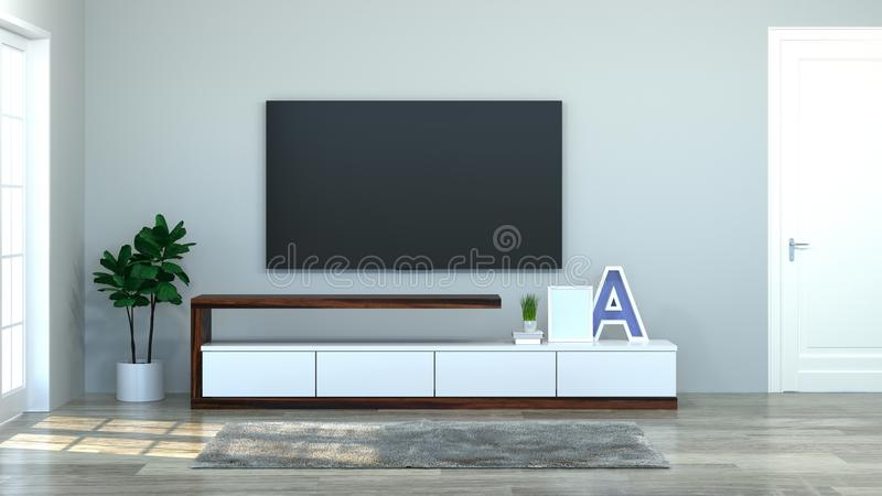 Modern Tv wood cabinet in empty room interior background 3d illustration home designs,background shelves and books on the desk in stock illustration