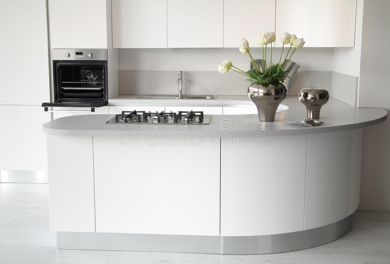 Modern white kitchen with open oven. And steel sink. Stylish and elegant flowers decoration royalty free stock image