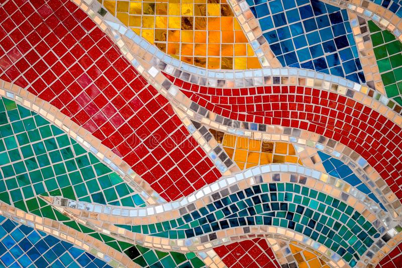 Mosaic pattern of tiles at the Thai temple.  royalty free stock image