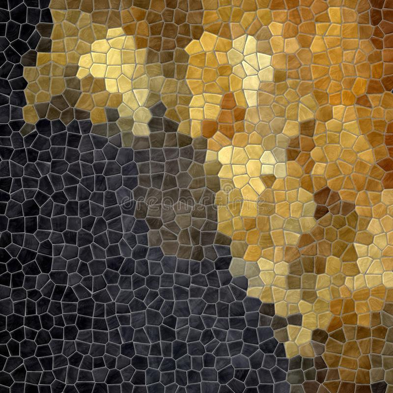Nature marble plastic stony mosaic tiles texture background wit gray grout - black and gold color gradient. Abstract nature marble plastic stony mosaic tiles royalty free illustration
