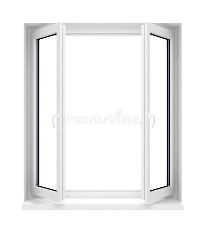 New opened plastic glass window frame isolated royalty free illustration