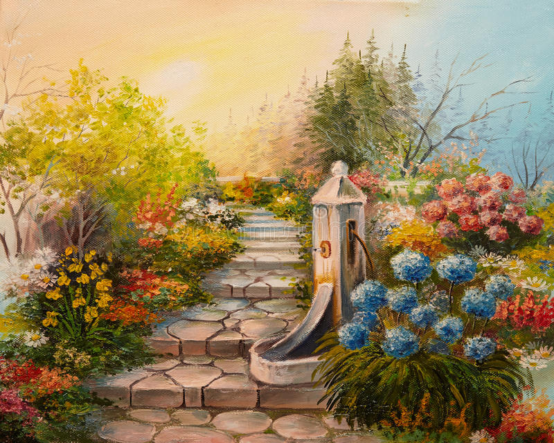 Oil Painting - stone stairs in the forest vector illustration