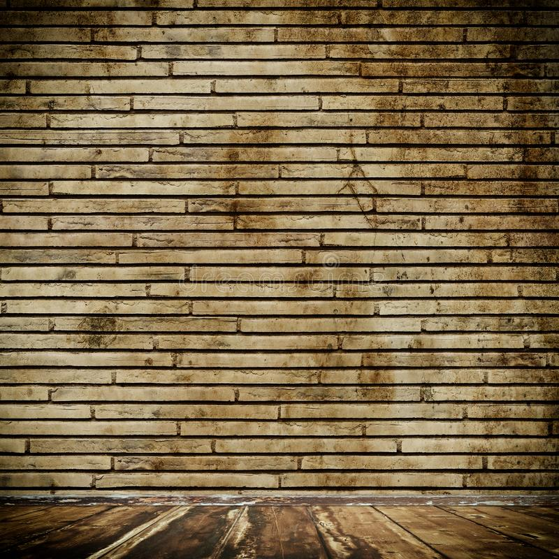 Old brick wall and wooden floor. royalty free stock photo